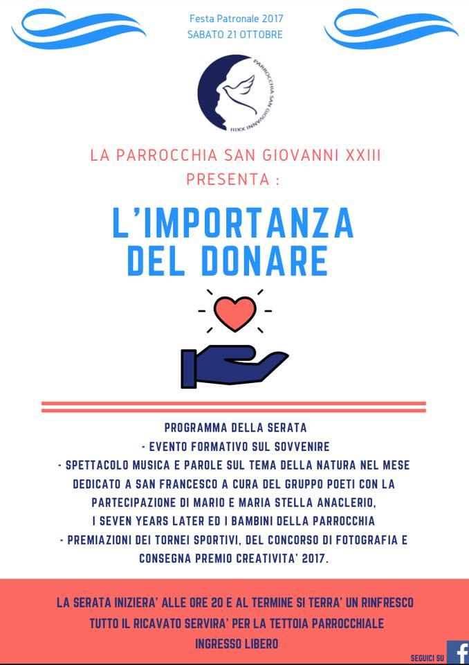 """parrocchia san giovanni XXIII Copia - La Parrocchia San Giovanni XXIII in festa: """"L' importanza del donare"""""""