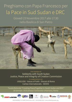 sud sudan preghiera e1510049523786 - Sud Sudan e Congo, a San Pietro la veglia di preghiera per la pace con il Papa