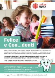 """Felici e con.. 212x300 - Salute orale, Caritas Roma promuove la campagna """"Felici e con…denti"""""""