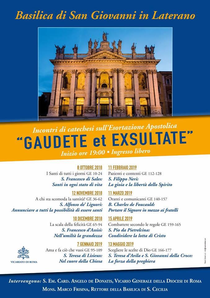"43029209 10155606274960636 5464931316736720896 n - ""Gaudete et exsultate"", ciclo di catechesi a San Giovanni in Laterano"