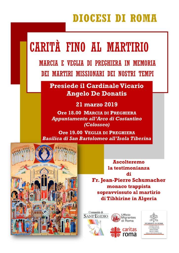 """""""Carità fino al martirio"""", <br>marcia e veglia di preghiera 1"""