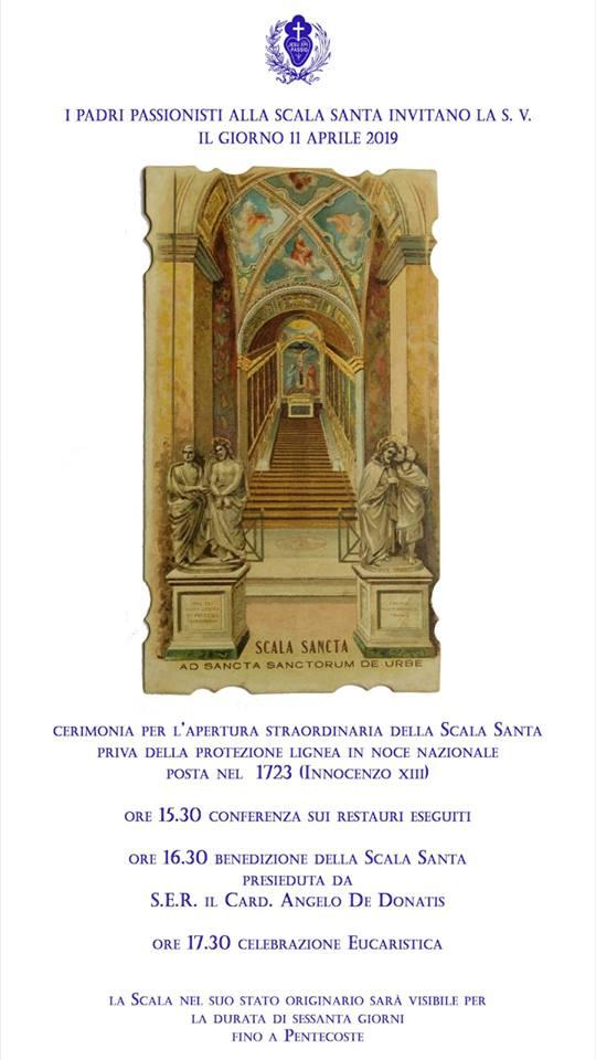 Scala Santa, riapertura fino al 9 giugno 1