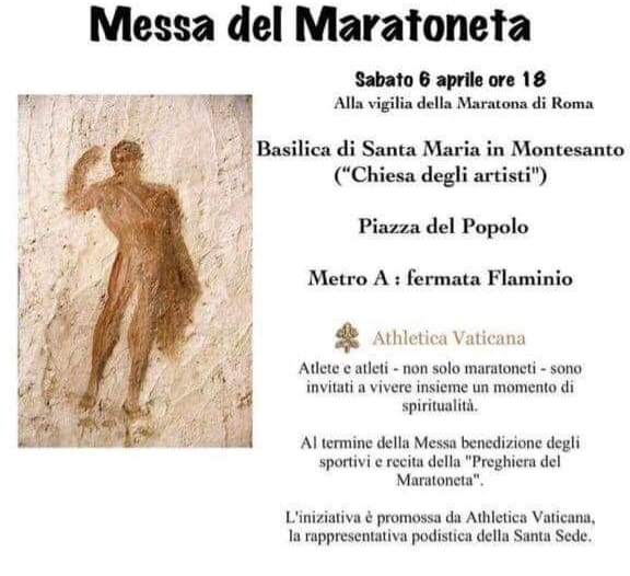 messa del maratoneta, atlhetica vaticana, maratona di roma, www.radiopiu.eu